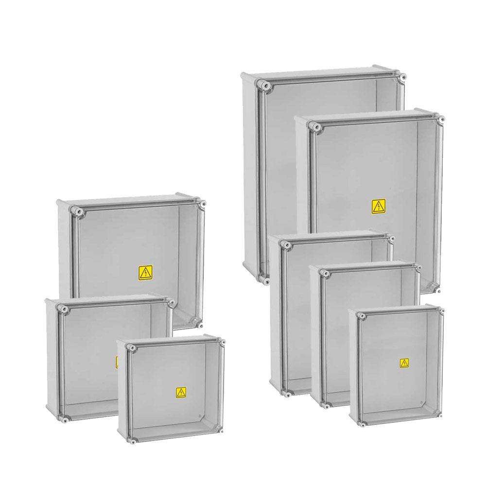 CAIXA PARA STRING BOX/COMBINER BOX COM TAMPA TRANSPARENTE E PLACA DE MONTAGEM - IP65