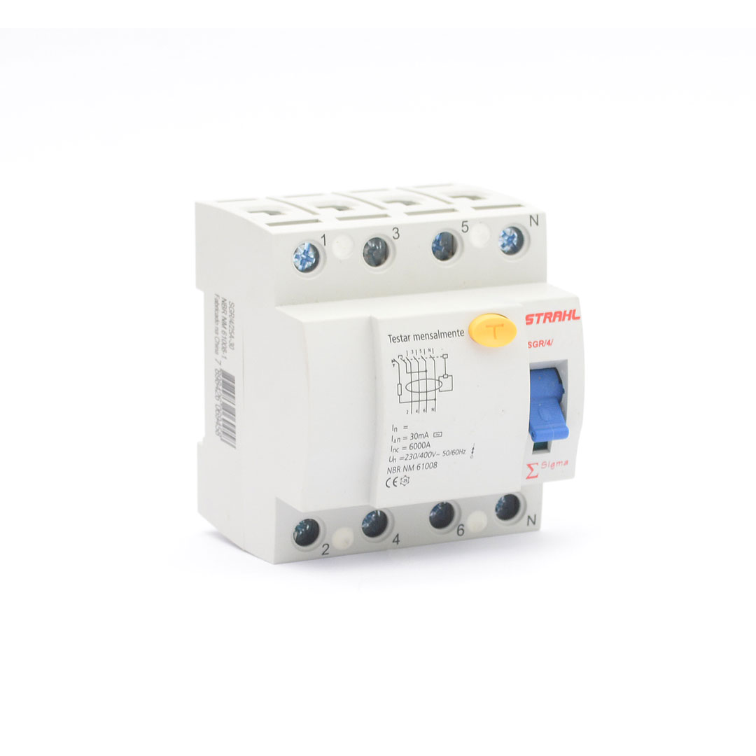 INTERRUPTOR DIFERENCIAL RESIDUAL - DR 4P 32A 30mA - STRAHL