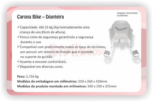 Cadeirinha Styll Baby Carona Bike Dianteira Fit Rosa  - Encanto Baby