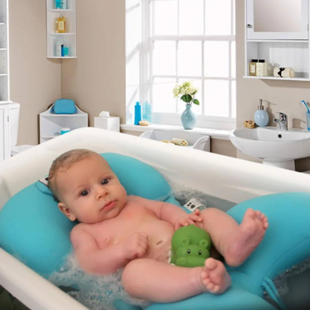 Almofada De Banho Fit Para Banho Do Bebê Baby Pil Azul  - Encanto Baby