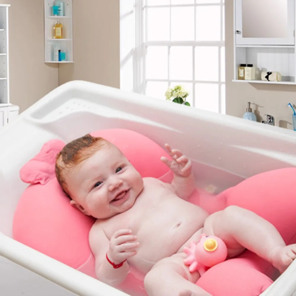 Almofada De Banho Fit Para Banho Do Bebê Baby Pil Rosa  - Encanto Baby