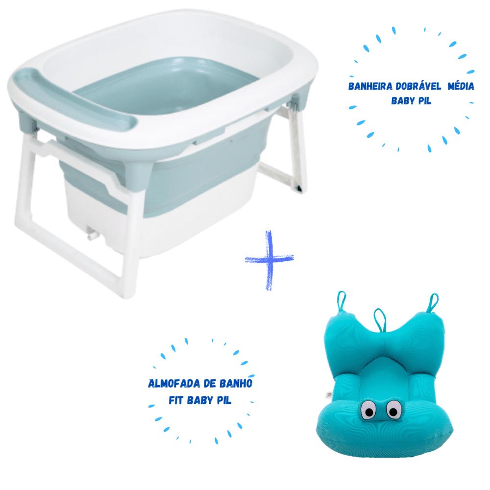 Banheira Dobrável Portátil Média + Almofada De Banho Fit Baby Pil Azul