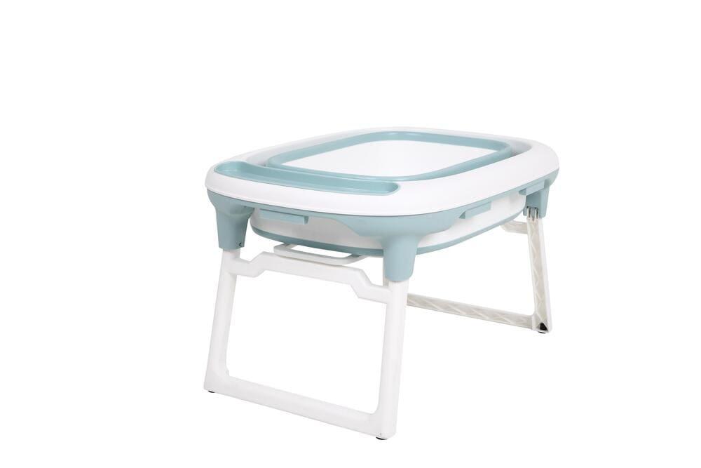 Banheira Dobrável Portátil Média + Almofada De Banho Fit Baby Pil Azul  - Encanto Baby