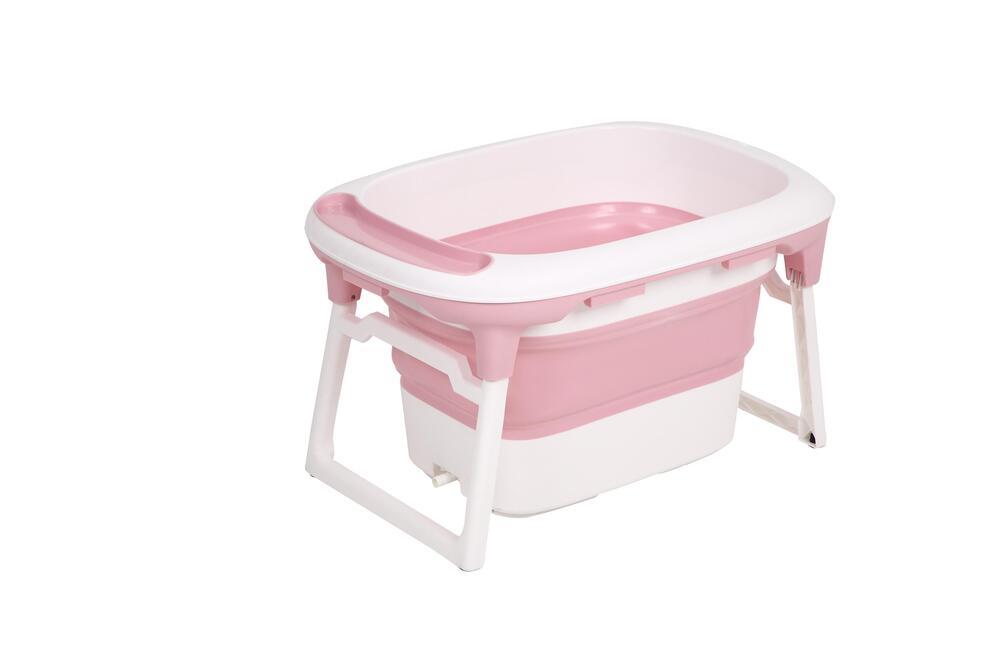 Banheira Dobrável Portátil Média + Almofada De Banho Fit Baby Pil Rosa  - Encanto Baby