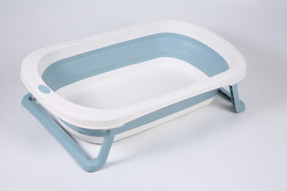 Banheira Para Bebê Dobrável Portátil Azul Baby Pil Pequena
