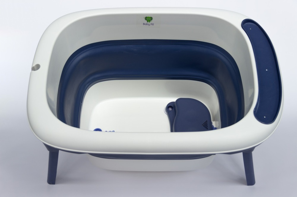 Banheira Para Bebê Dobrável Portátil Azul Marinho Baby Pil Média  - Encanto Baby