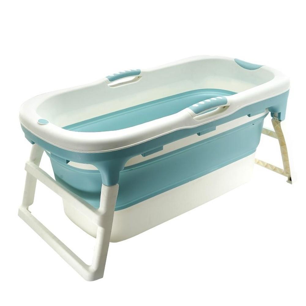 Banheira Para Bebê Dobrável Portátil Baby Pil Grande Azul