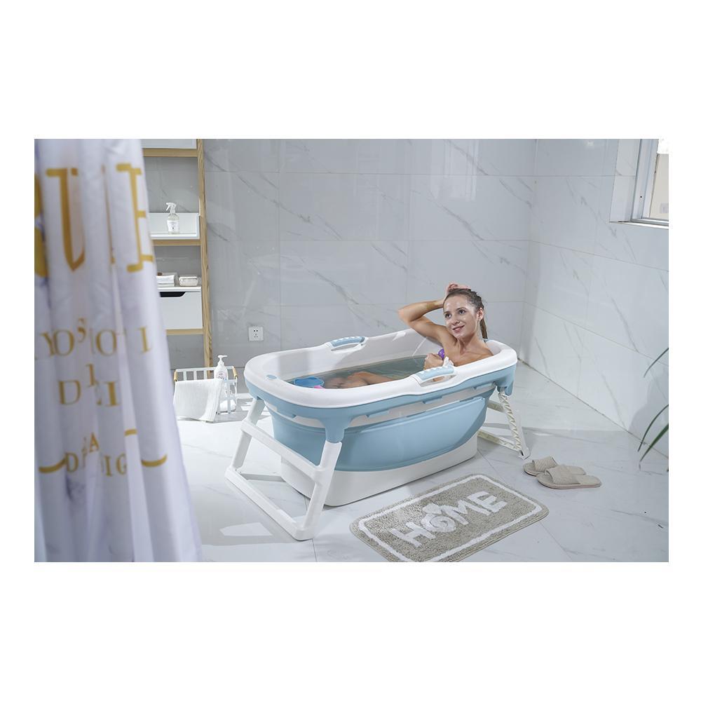 Banheira Para Bebê Dobrável Portátil Baby Pil Grande com Tampa Azul  - Encanto Baby
