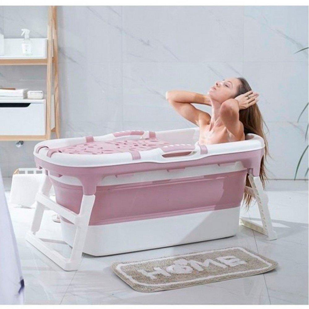Banheira Para Bebê Dobrável Portátil Baby Pil Grande com Tampa Rosa  - Encanto Baby