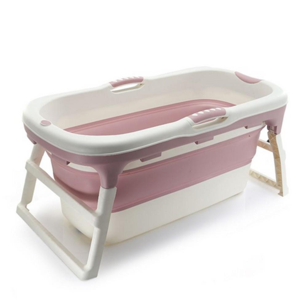Banheira Para Bebê Dobrável Portátil Baby Pil Grande Rosa