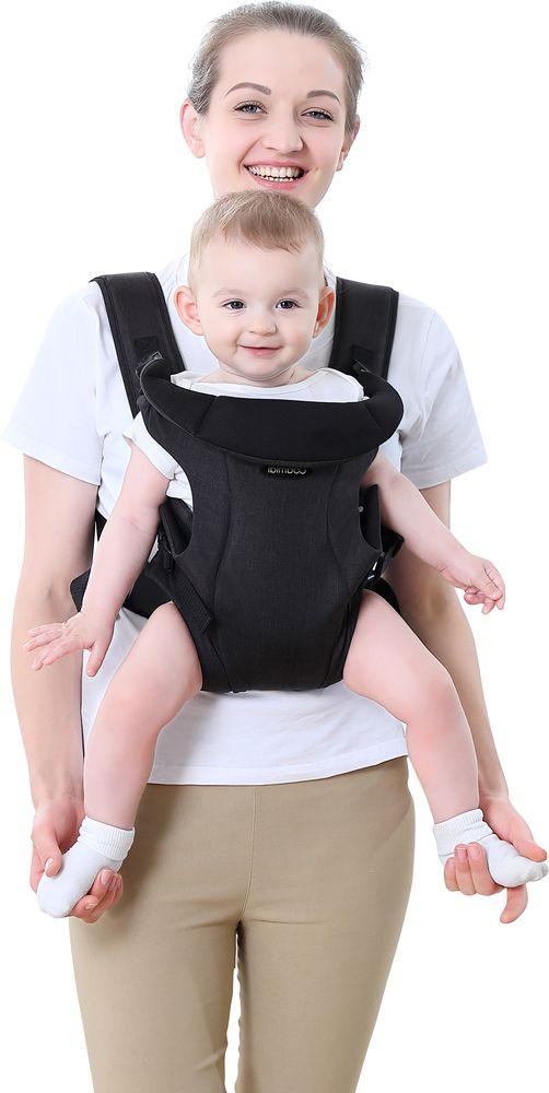 Bebê Canguru Ibimboo Tecido 3 Em 1 Cinza Escuro  - Encanto Baby