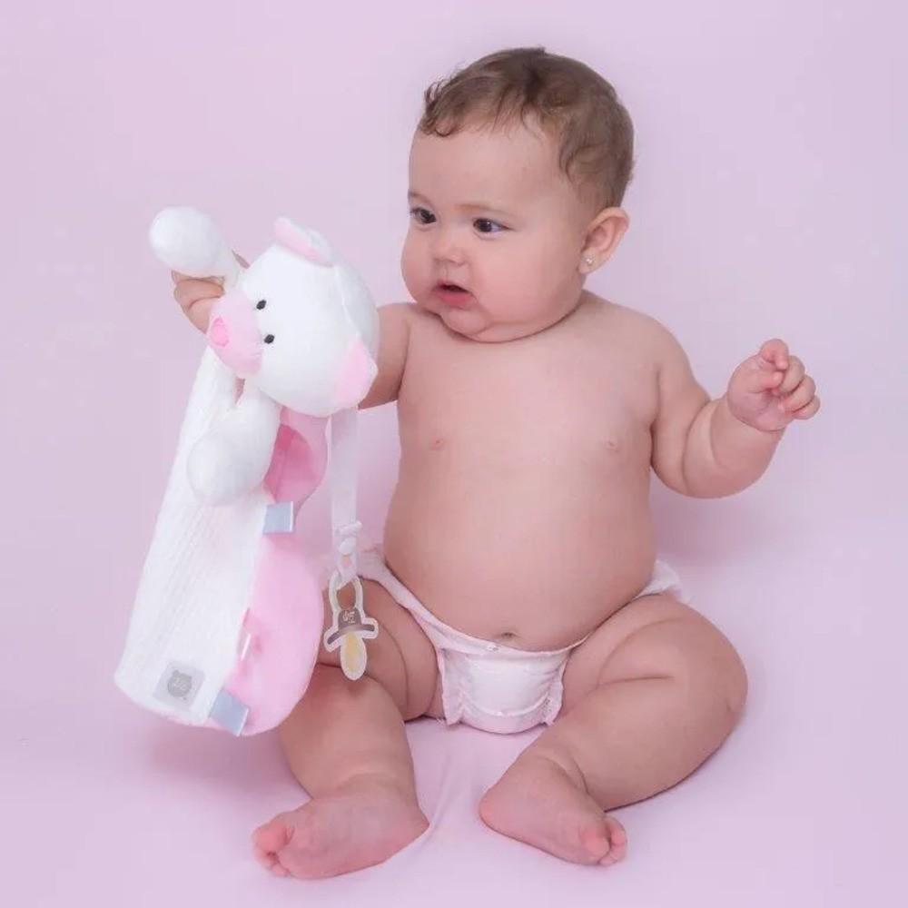 Bebê Naninha Tags Pelúcia Prendedor Chupeta Ursinho Rosa  - Encanto Baby