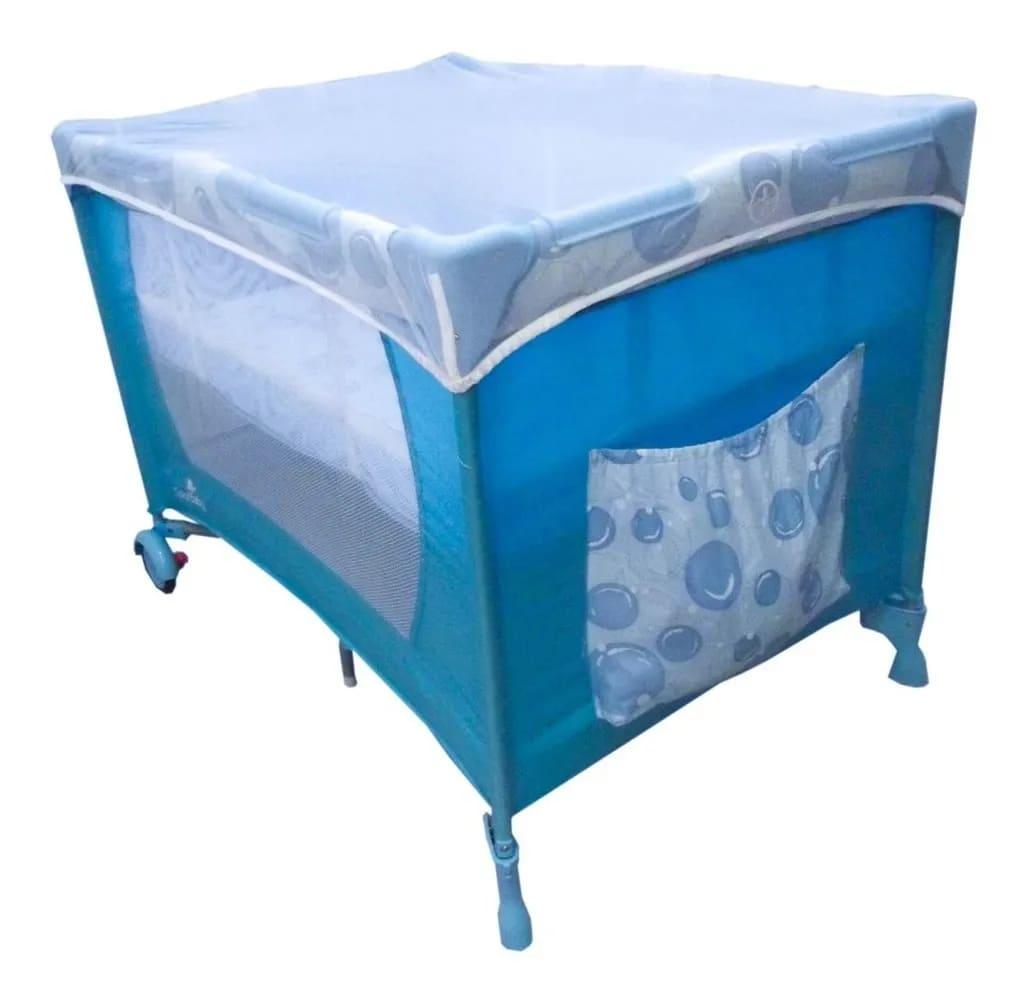 Berço Cercado Portátil Azul Eco Com Mosquiteiro