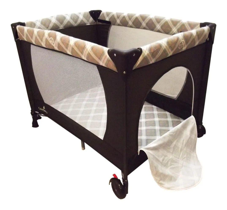 Berço Cercado Portátil Marrom Eco Com Mosquiteiro  - Encanto Baby