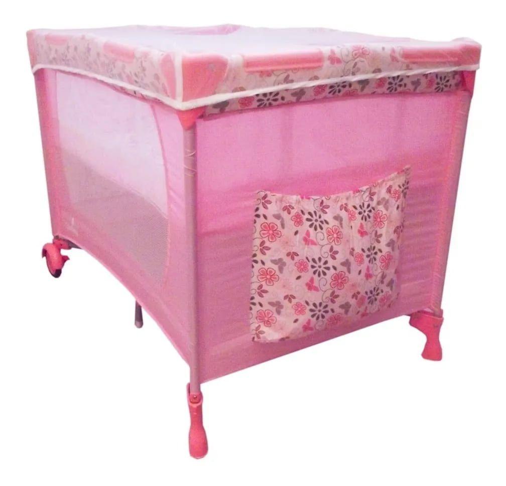 Berço Cercado Portátil Rosa Eco Com Mosquiteiro
