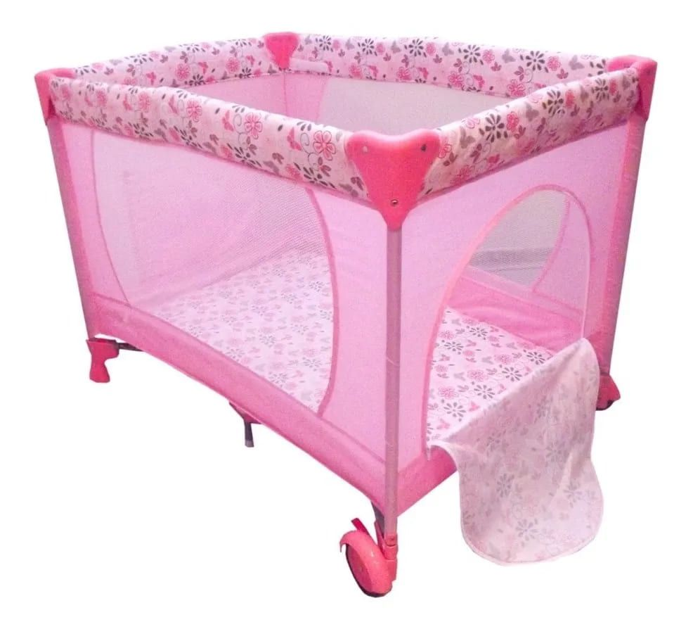 Berço Cercado Portátil Rosa Eco Com Mosquiteiro  - Encanto Baby