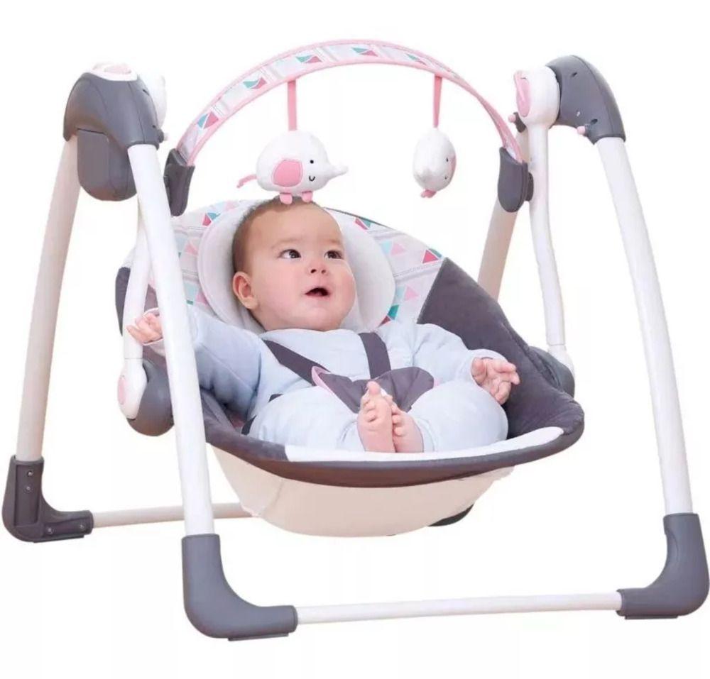 Cadeira Automática Premium Rosa Balanço Com Fonte Plush Toys