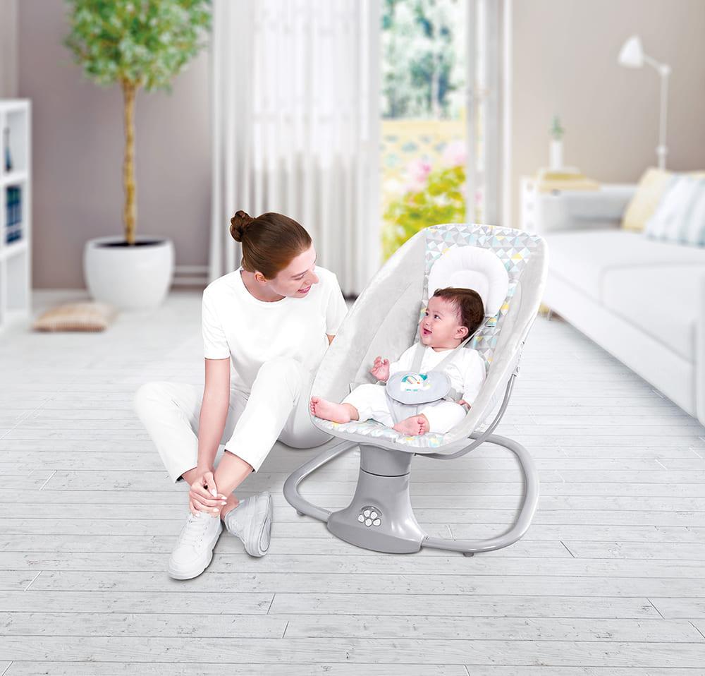 Cadeira De Balanço Automático Musical Com Bluetooth até 18kg 3 Em 1 Mastela Light Cinza