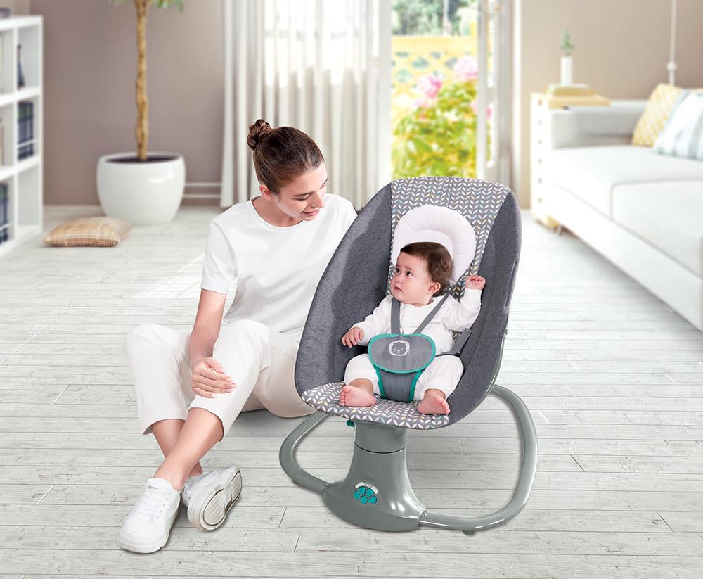 Cadeira De Balanço Automático Musical Com Bluetooth até 18kg 3 Em 1 Mastela Light Verde