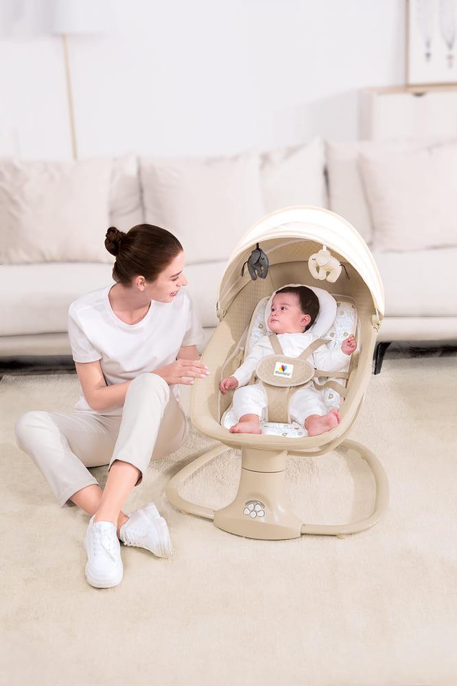 Cadeira De Balanço Automático Musical Com Bluetooth até 18kg 3 Em 1 Mastela Premium Bege