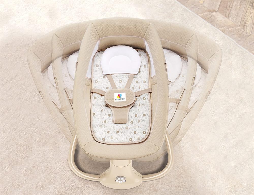 Cadeira De Balanço Automático Musical Com Bluetooth até 18kg 3 Em 1 Mastela Premium Bege  - Encanto Baby