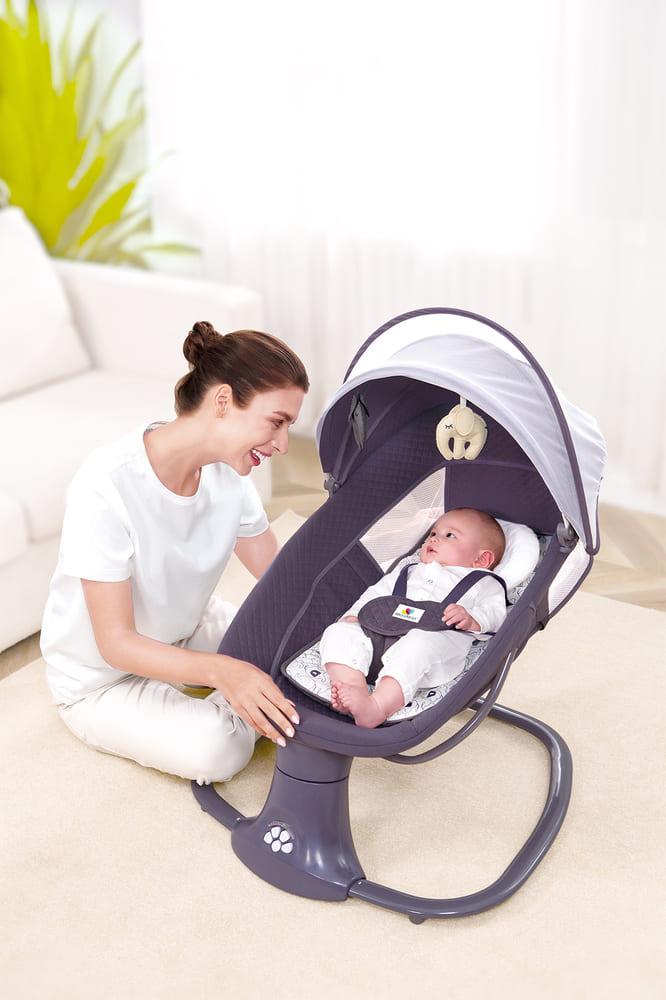 Cadeira De Balanço Automático Musical Com Bluetooth até 18kg 3 Em 1 Mastela Premium Cinza