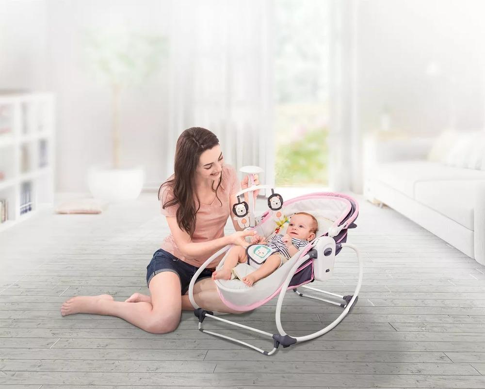 Cadeira De Balanço E Descanso Moisés Mastela 5 Em 1 Rosa  - Encanto Baby