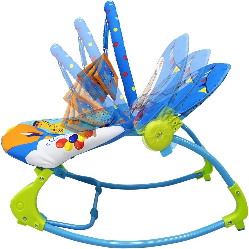 Cadeira De Balanço Musical E Vibratória Color Baby 18kg Azul  - Encanto Baby
