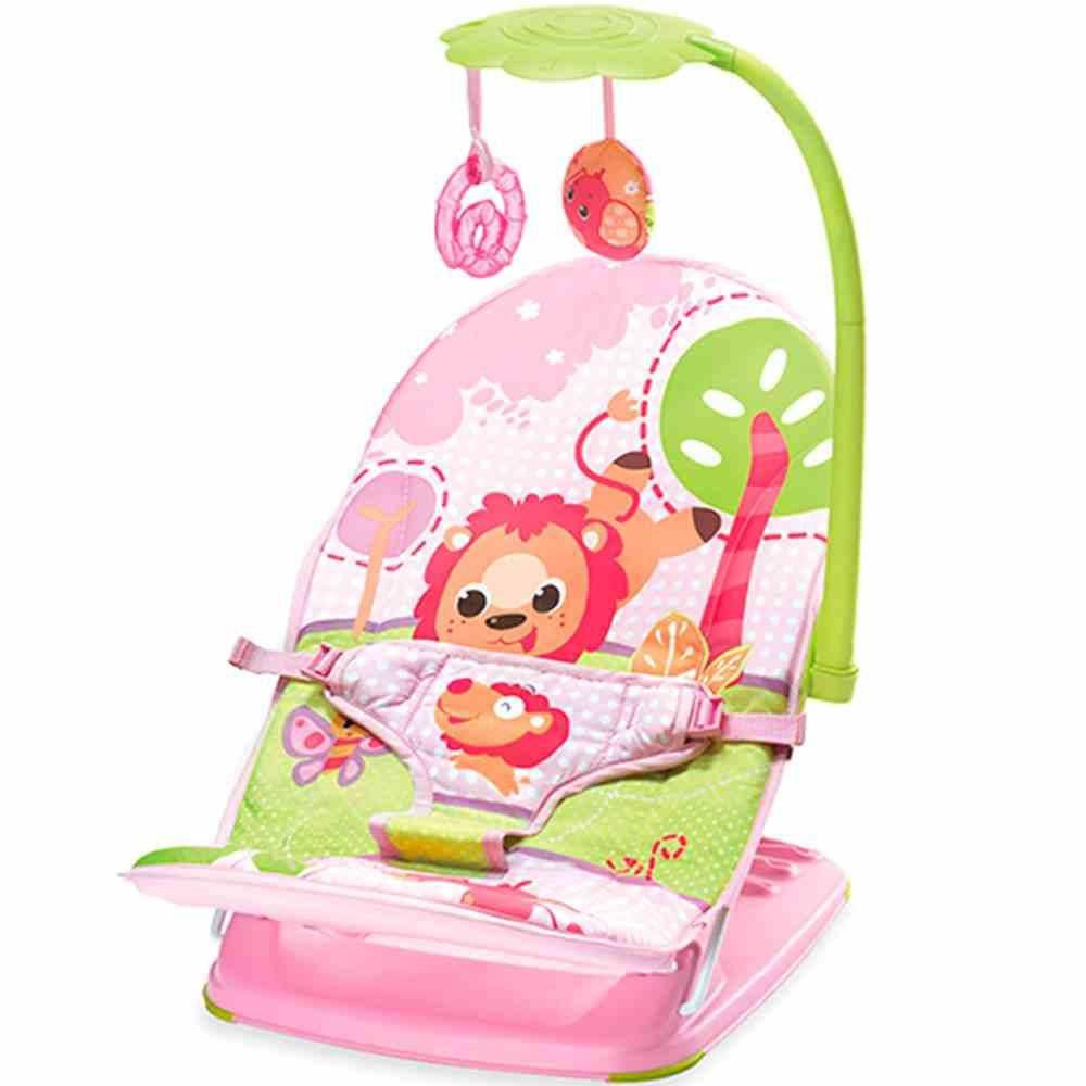 Cadeira De Descanso Musical E Vibratória Rosa Leão 11kg Mastela - Rosa  - Encanto Baby
