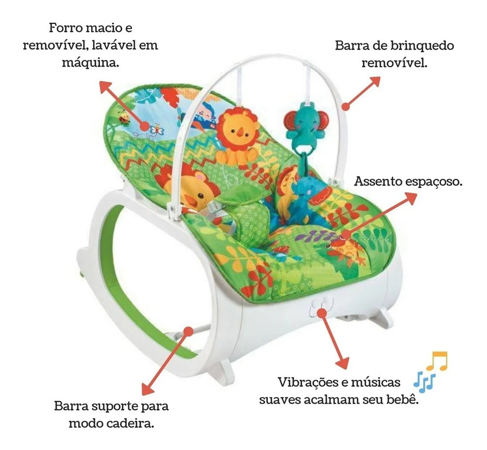 Cadeirinha Musical De Balanço/descanso Vibratória Color Baby