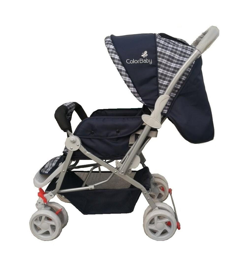 Carrinho De Bebê Passeio Confort Alça Reversível Azul Color Baby  - Encanto Baby