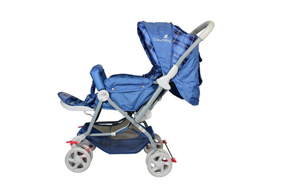 Carrinho de Bebê Passeio Junior Color Baby com Alça reversível Azul Xadrez  - Encanto Baby