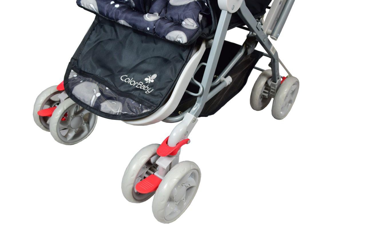 Carrinho de Bebê Passeio Junior Color Baby com Alça reversível Preto/ Cinza  - Encanto Baby