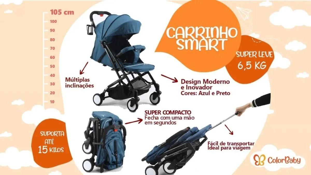 Carrinho de Bebê Smart Color Baby Leve Compacto até 15kg  - Encanto Baby