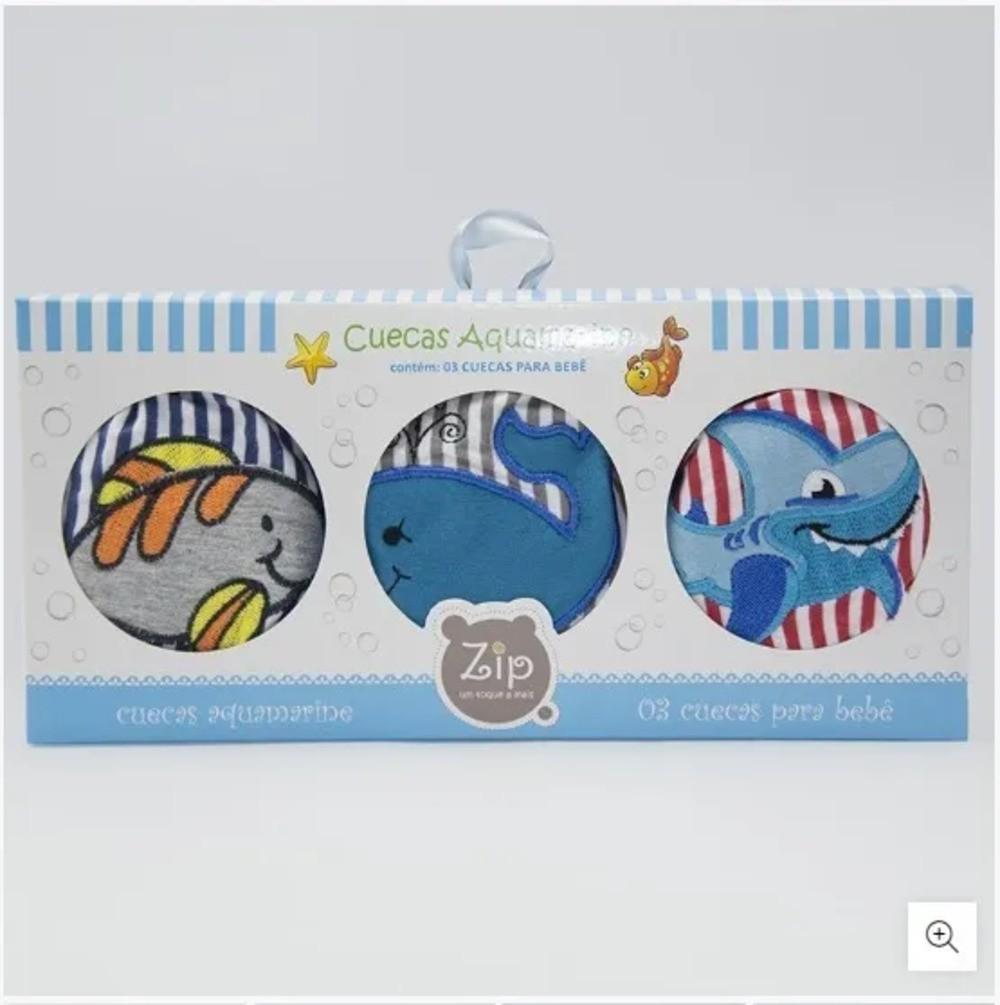Cueca Para Bebê Aquamarine Zip Toys Animais Marinhos