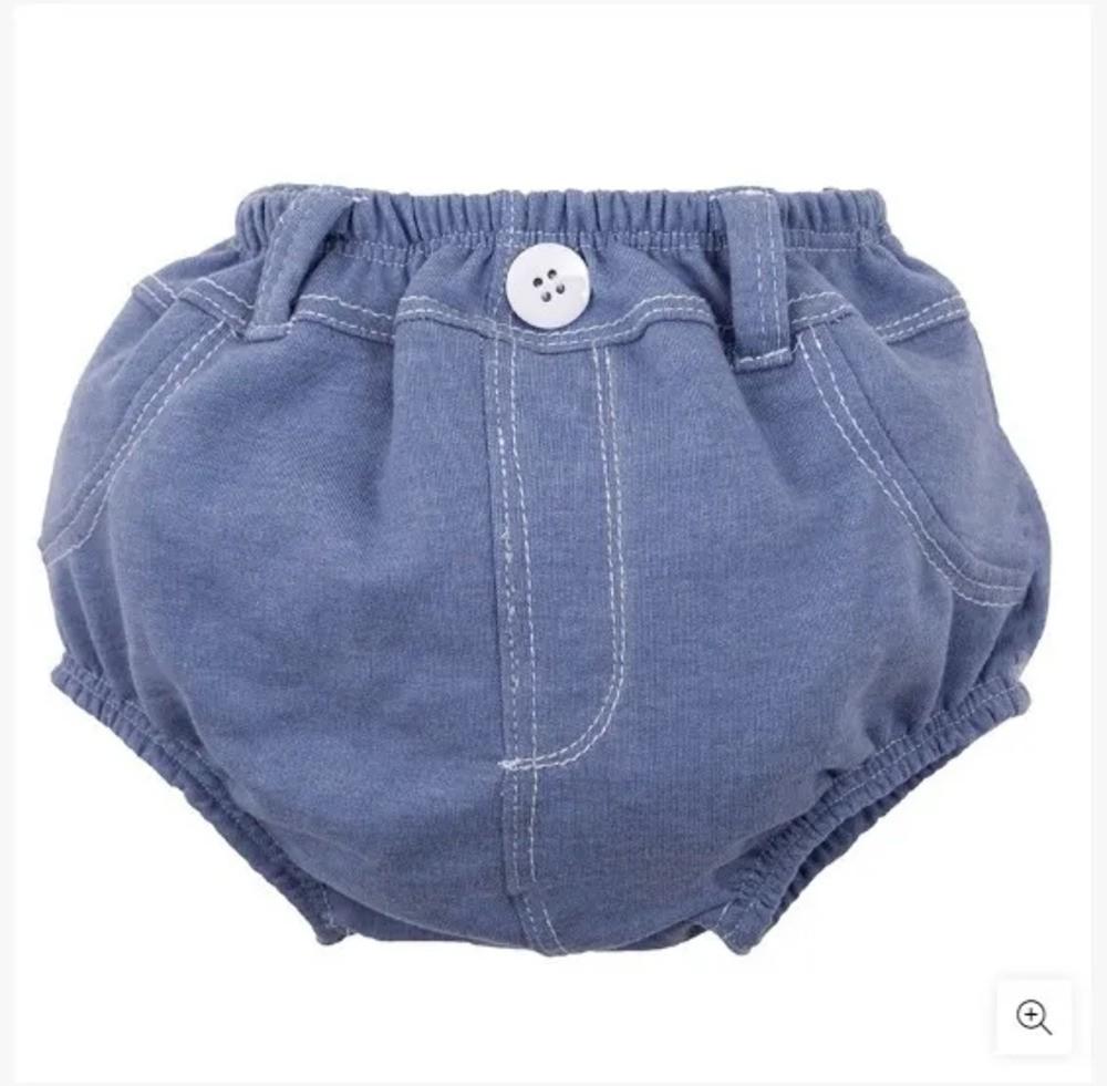 Cueca Para Bebê Cobre Fralda Zip Toys Jeans Claro