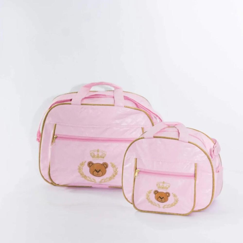 Kit Bebê Bolsas Maternidade Urso Príncipe Com Coroa