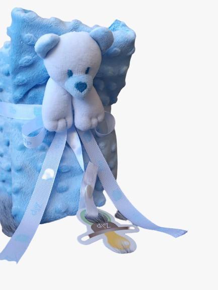 Kit Bebê Naninha E Manta Bolha Ursinho Azul Zip Toys