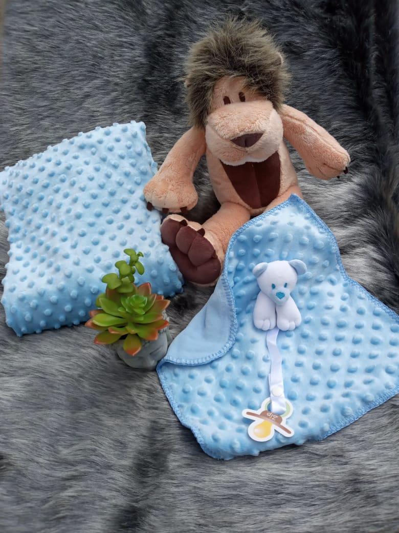 Kit Bebê Naninha E Manta Bolha Ursinho Azul Zip Toys  - Encanto Baby