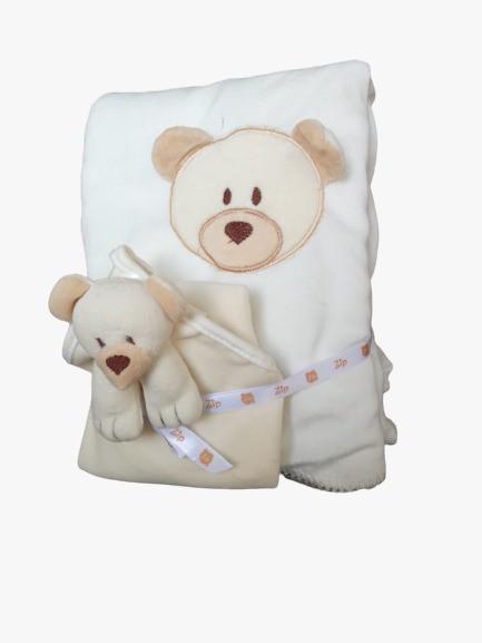 Kit Bebê Naninha E Manta Ursinho Bege Zip Toys