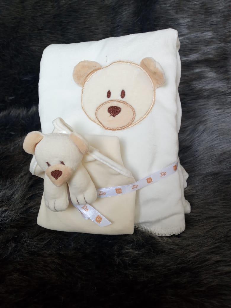Kit Bebê Naninha E Manta Ursinho Bege Zip Toys  - Encanto Baby