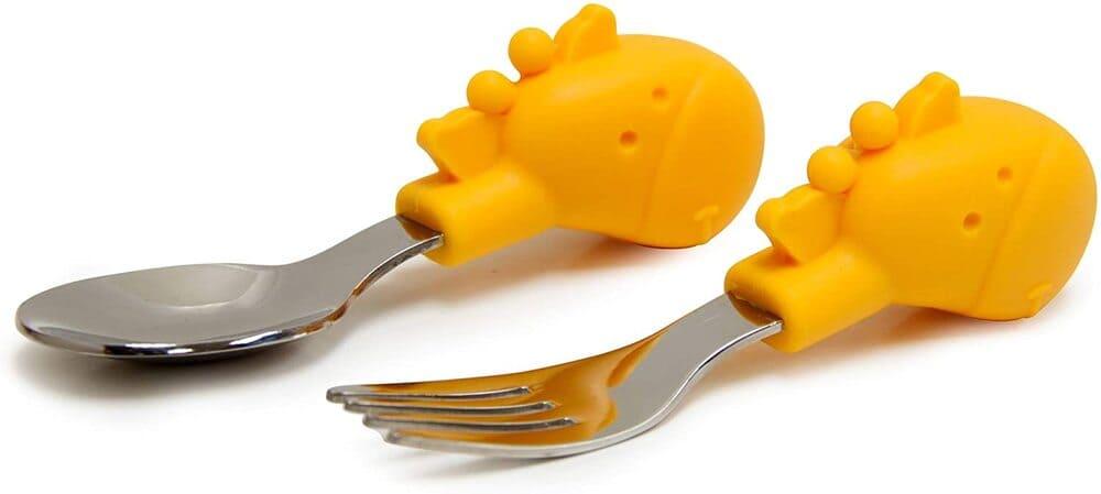 Kit De Alimentação Com Divisória Sucção E Talheres Livre De Bpa Girafa  - Encanto Baby