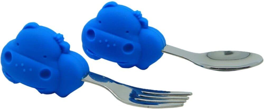 Kit De Alimentação Com Divisória Sucção E Talheres Livre De Bpa Hipopótamo  - Encanto Baby