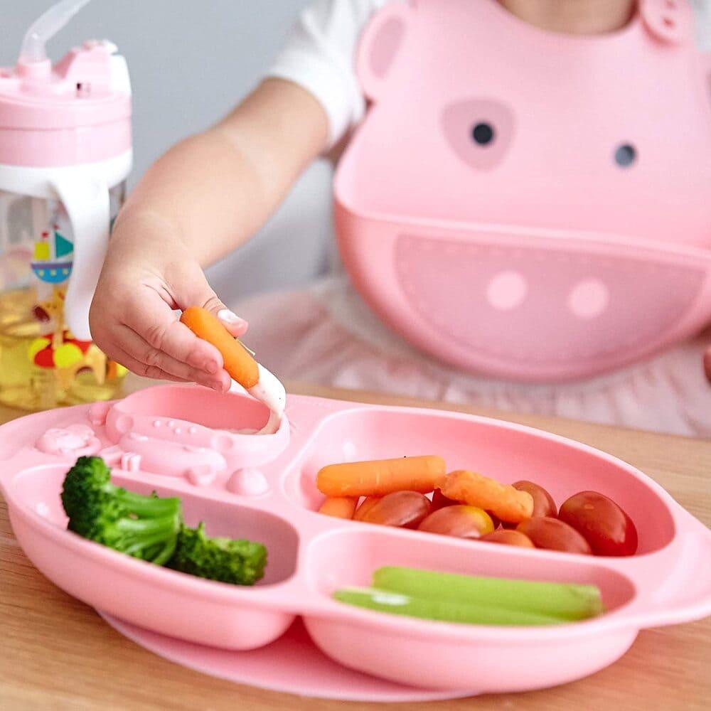 Kit De Alimentação Com Divisória Sucção E Talheres Livre De Bpa Porquinho  - Encanto Baby
