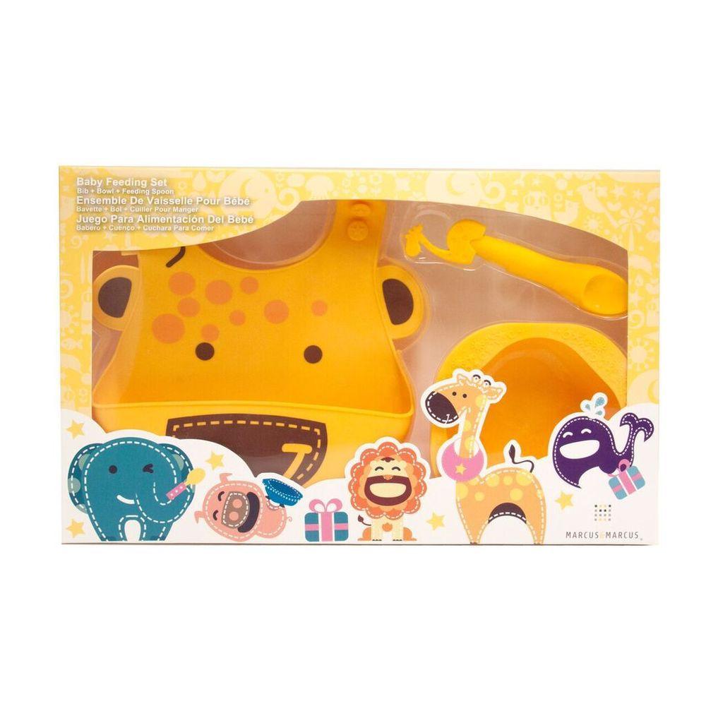 Kit De Alimentação Marcus & Marcus Em Silicone Girafa  - Encanto Baby