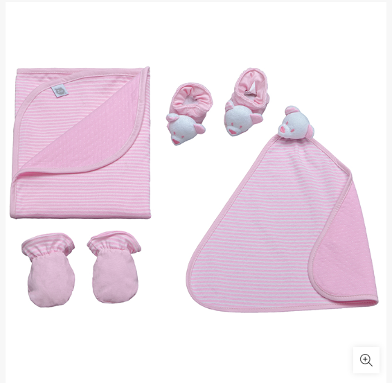 Kit Presente Bebê Dupla Face Com Manta Pantufa E Naninha Poa