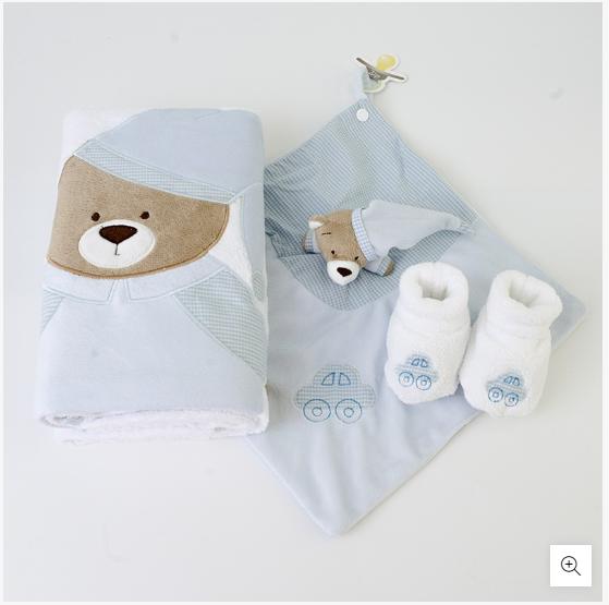 Kit Presente Bebê Nino Azul Com Manta Pantufa E Naninha Zip