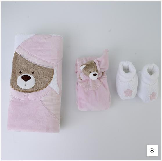 Kit Presente Bebê Nino Rosa Com Manta Pantufa E Naninha Zip