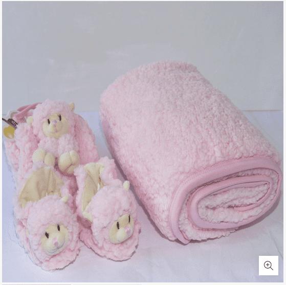 Kit Presente Bebê Ovelha Rosa Manta Pantufa E Naninha Zip
