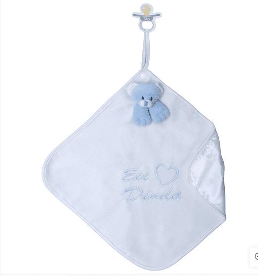 Naninha de Pelúcia Macia Amo Dinda Azul Cetim